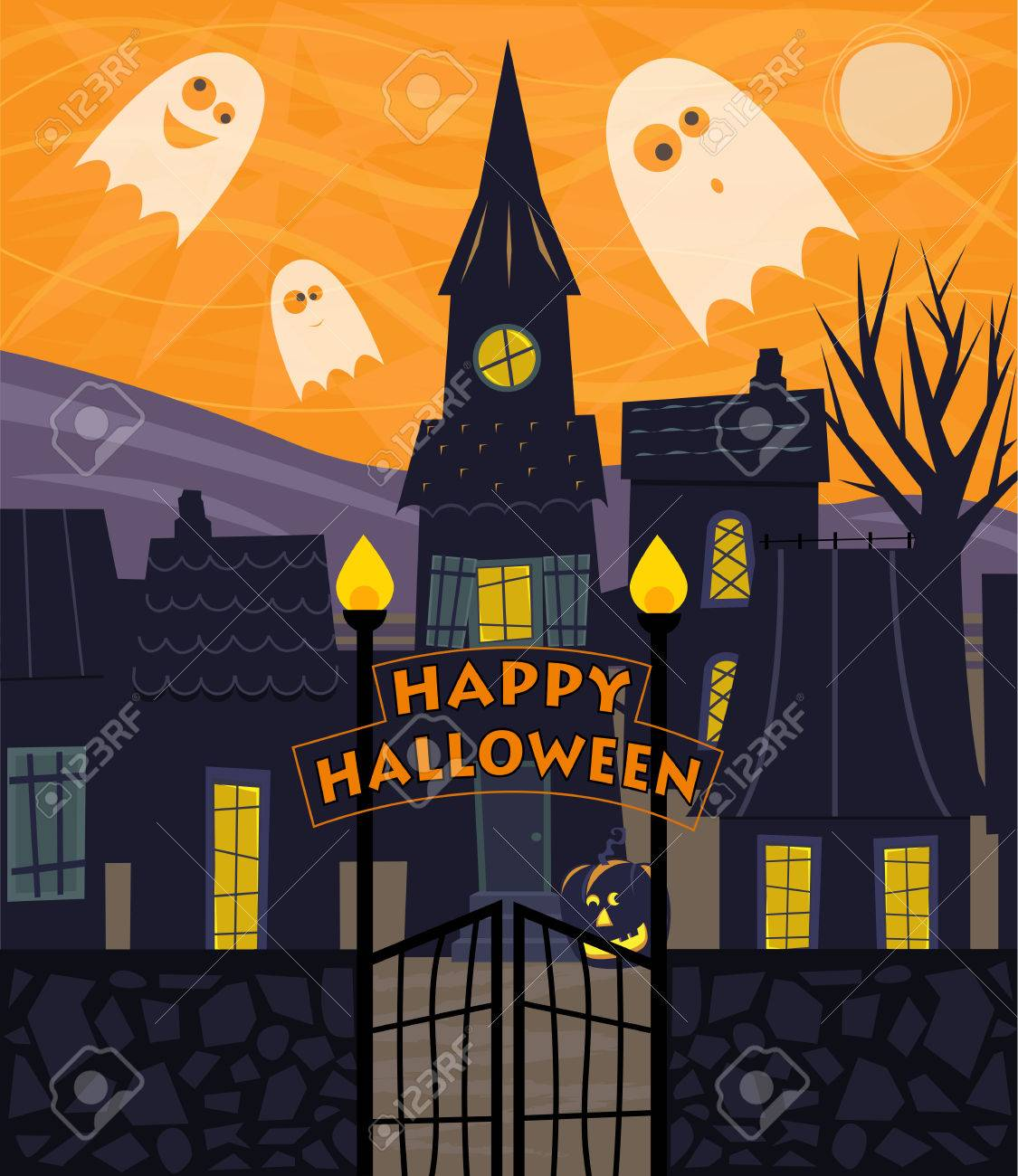 halloween greeting card of a silhouetted town with happy halloween sign and cute ghosts stock
