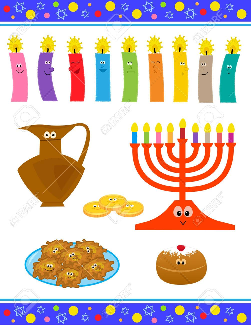 Cheerful cartoon set of hanukkah symbols with cute faces royalty cheerful cartoon set of hanukkah symbols with cute faces stock vector 65286924 buycottarizona Images