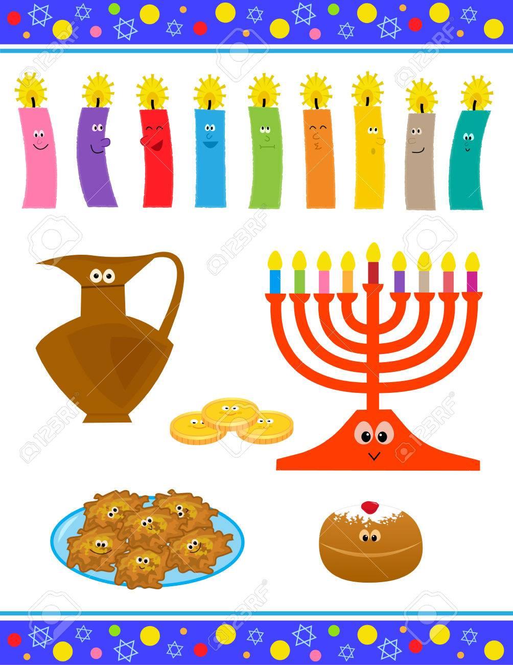 Cheerful Cartoon Set Of Hanukkah Symbols With Cute Faces Royalty