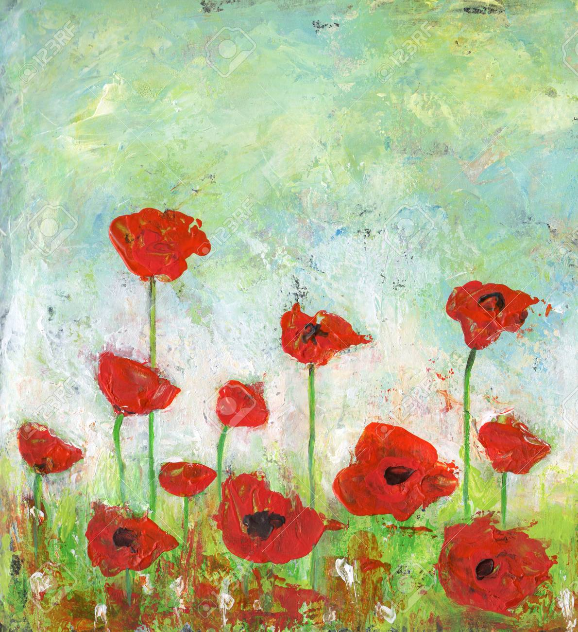 Acrylic Painting Of An Abstract Poppies Field Stock Photo Picture