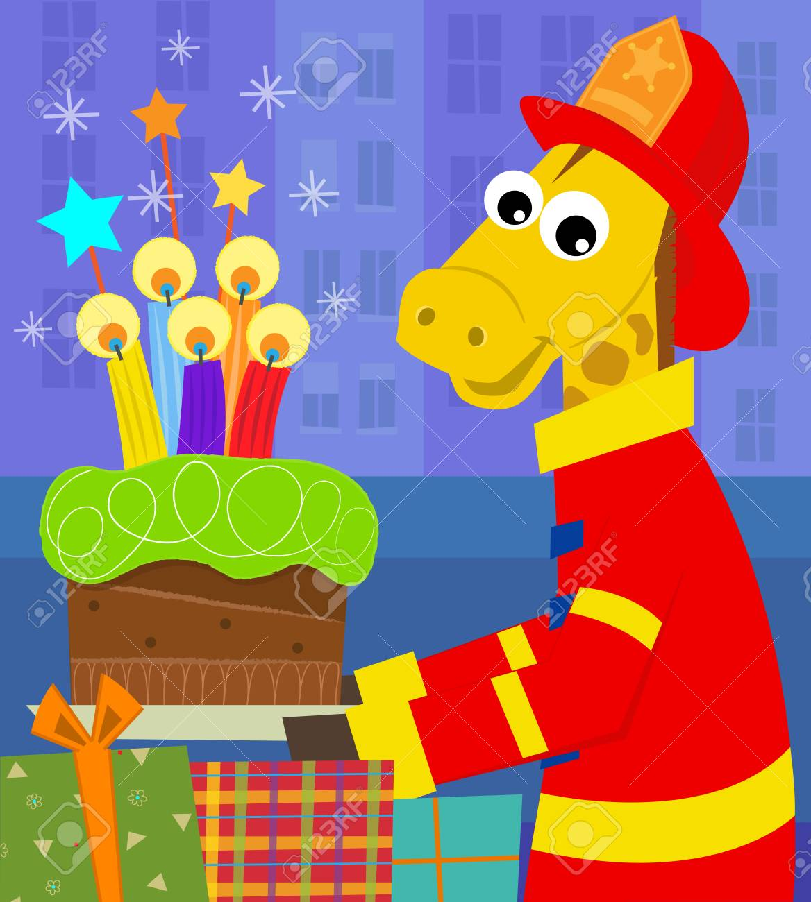 A Fireman Giraffe Is Holding Birthday Cake With Colorful Candles Eps10 Stock Vector