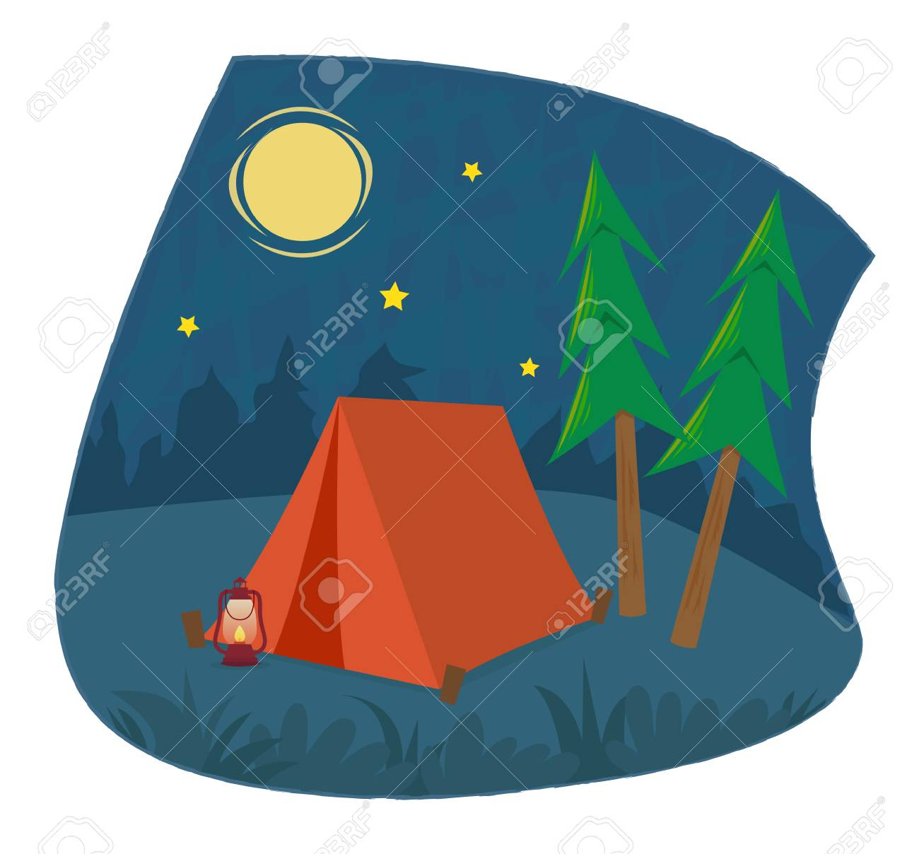 Clip art of a camping tent and a lantern under the night sky. Eps10 - 80204248
