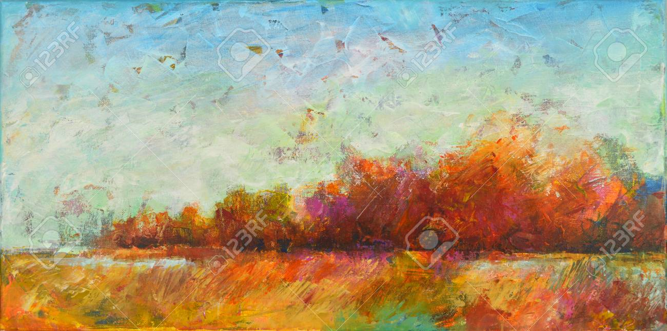 colorful landscape painting of trees and shrubs acrylic on canvas