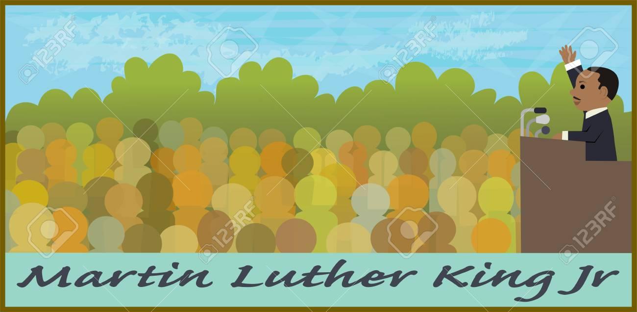 Ilustración De Dibujos Animados De Martin Luther King Jr Hablando En ...