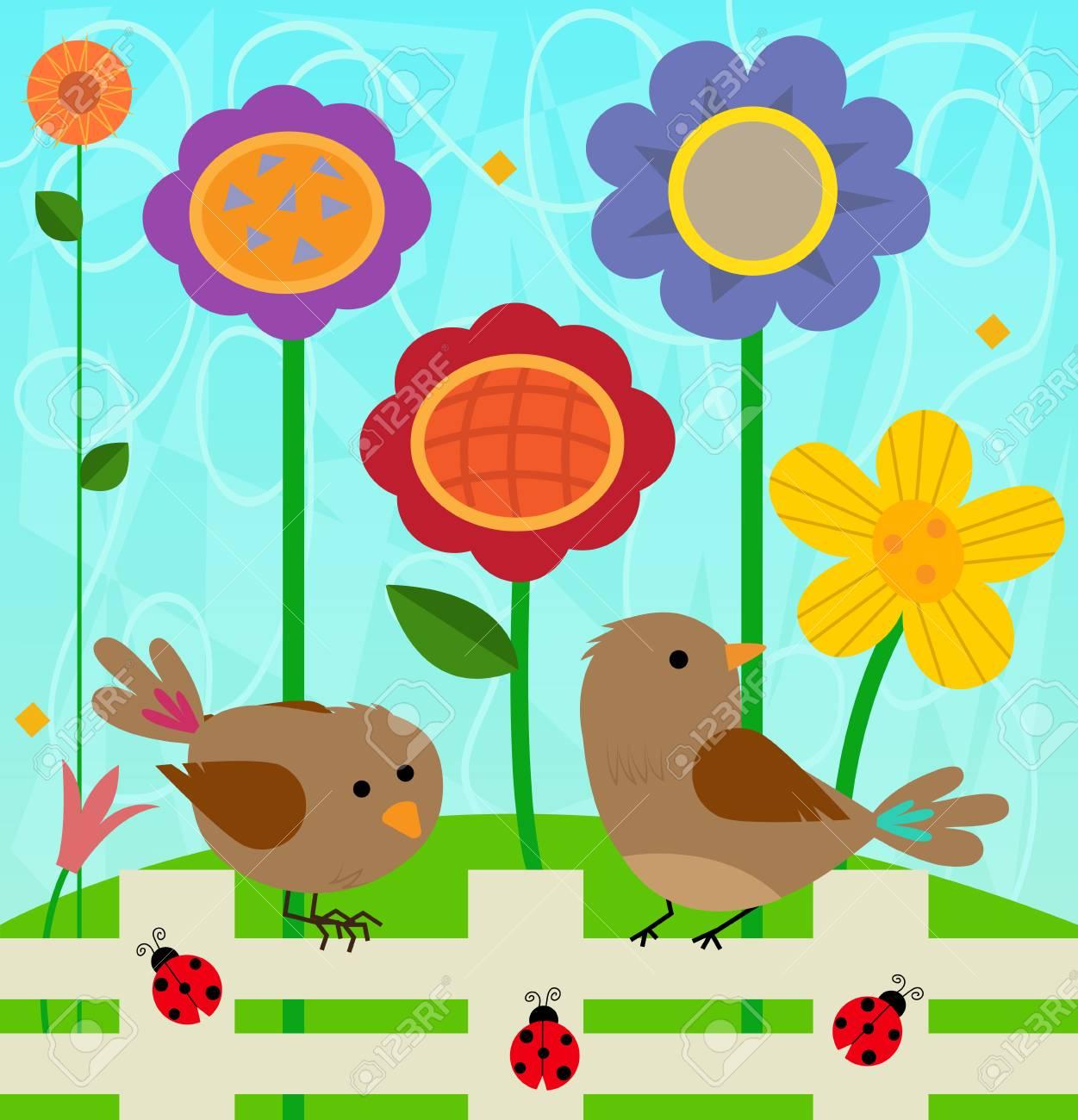 Clipart De Printemps De Deux Oiseaux Et Coccinelles Debout Sur Une Cloture Et Des Fleurs Colorees Derriere Eux Clip Art Libres De Droits Vecteurs Et Illustration Image 96958699