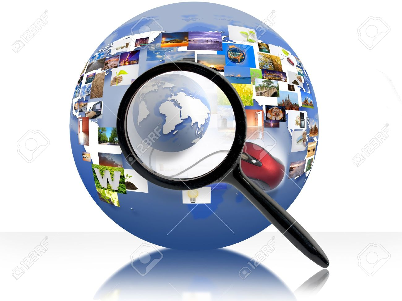 A Magnifying Glass Is Searching The Internet Stock Photo, Picture ...