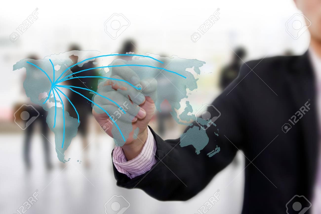 drawing social network world map Stock Photo - 12723623