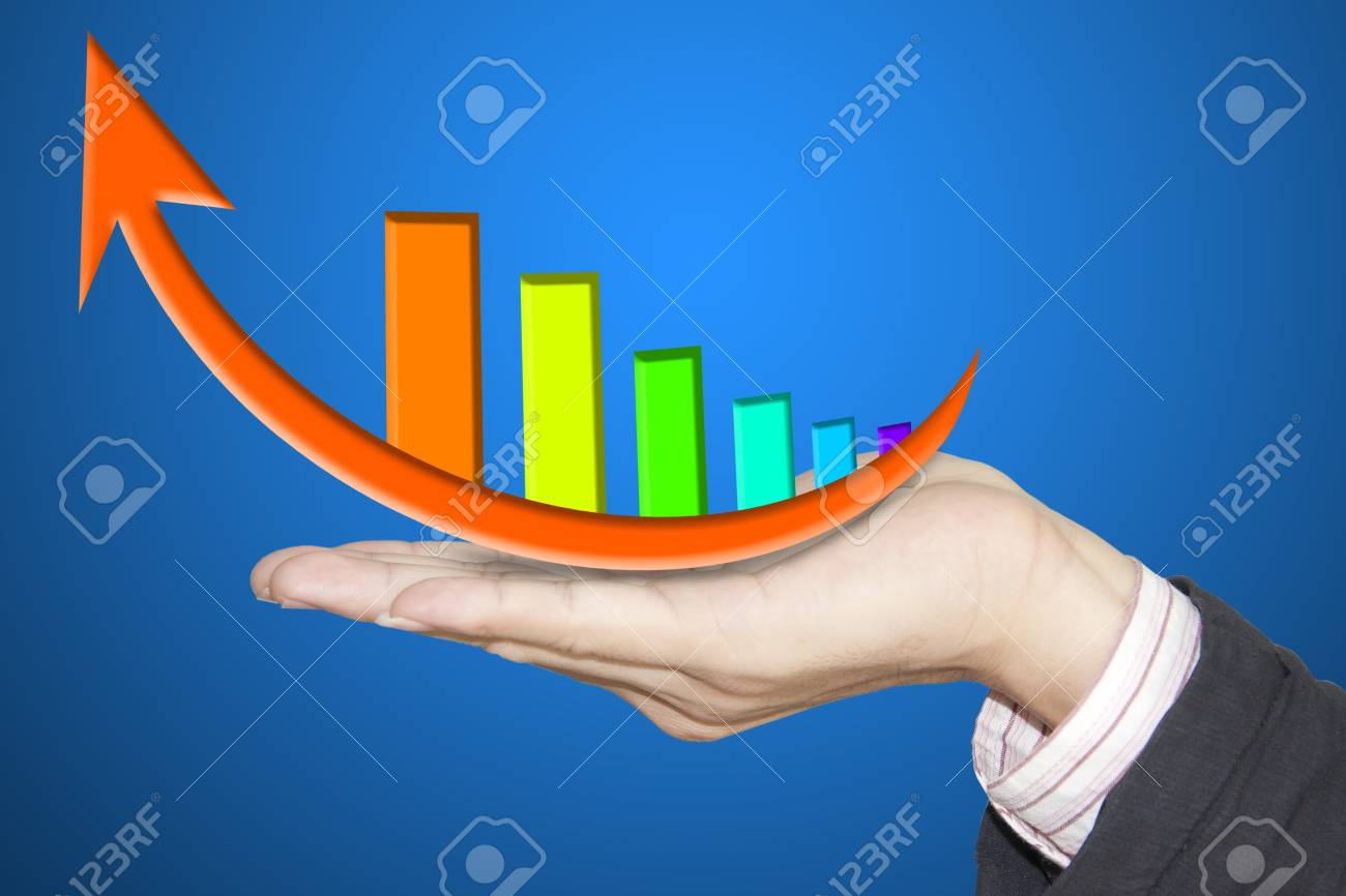 financial hand and business graph Stock Photo - 13306791