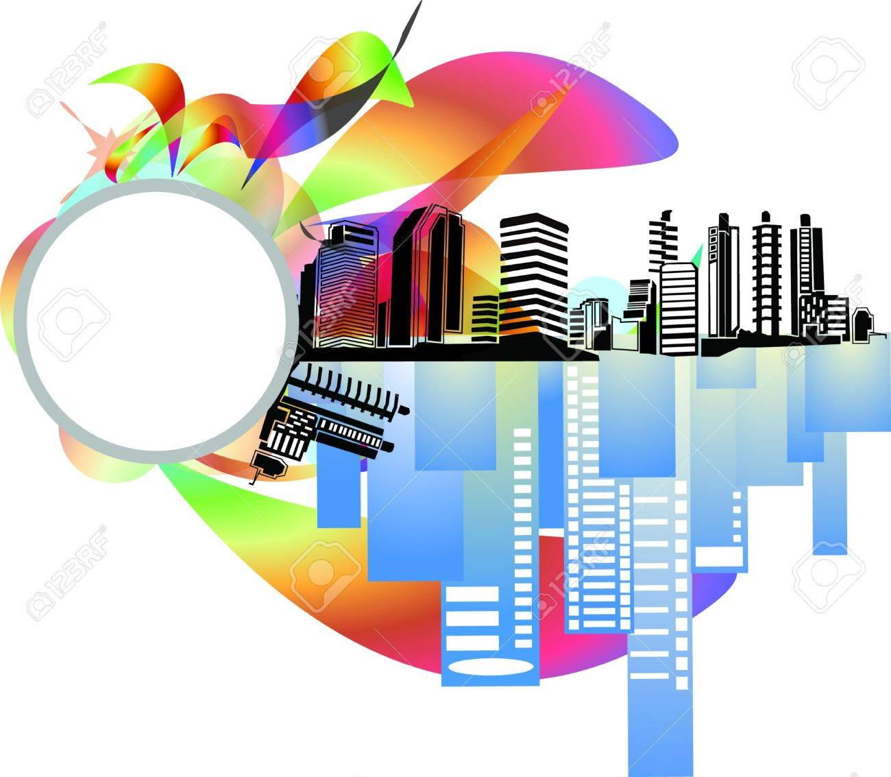 City building background, icon and business cards Stock Vector - 13526881