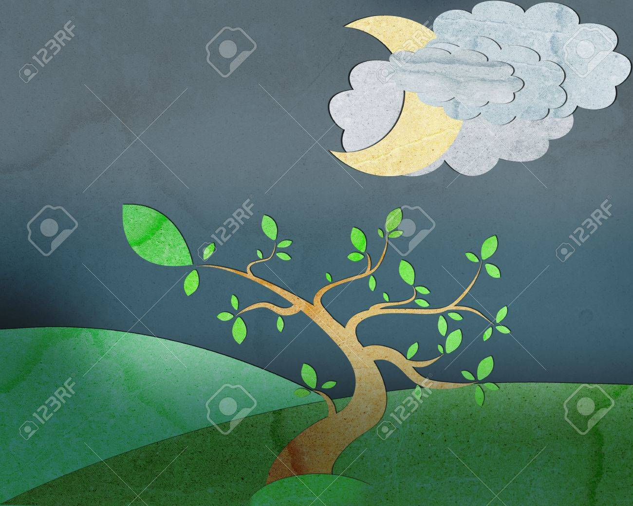 trees on hill with nice sky and moon background, create from paper texture. Stock Photo - 13619395