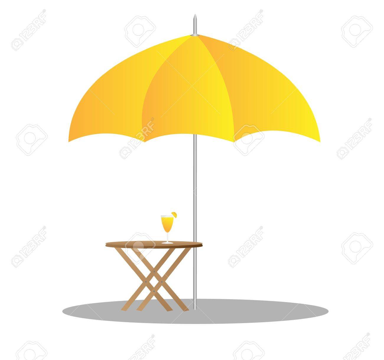 beach chairs under sunshade 3d illustration - 14830937