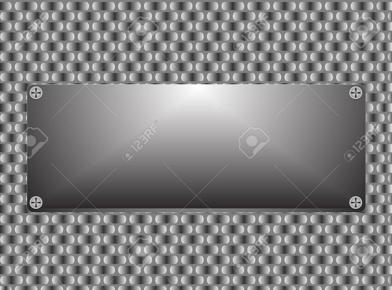 Metal texture plate with screws illustration Stock Vector - 23980178