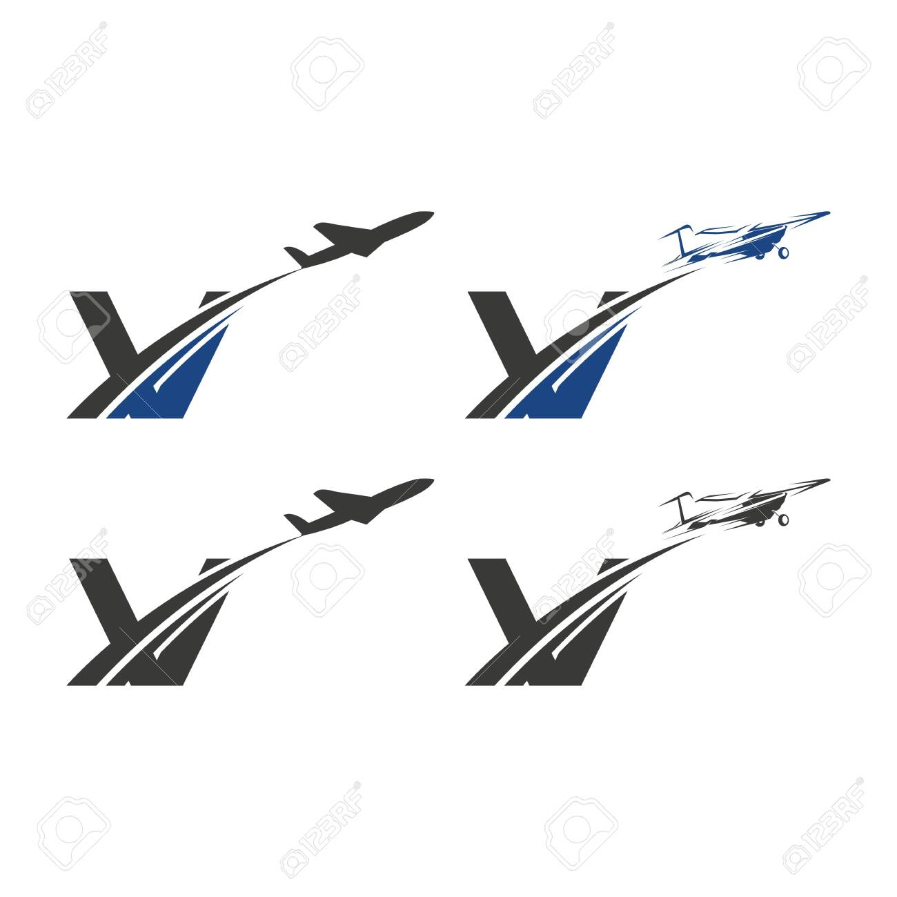 V Letter With Aviation Logo Design Template Letter With Airline Royalty Free Cliparts Vectors And Stock Illustration Image 139012818
