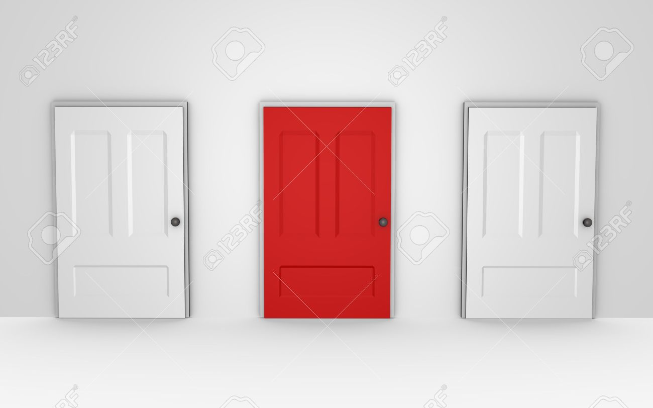 Three doors to choose from - a 3d image Stock Photo - 6593786