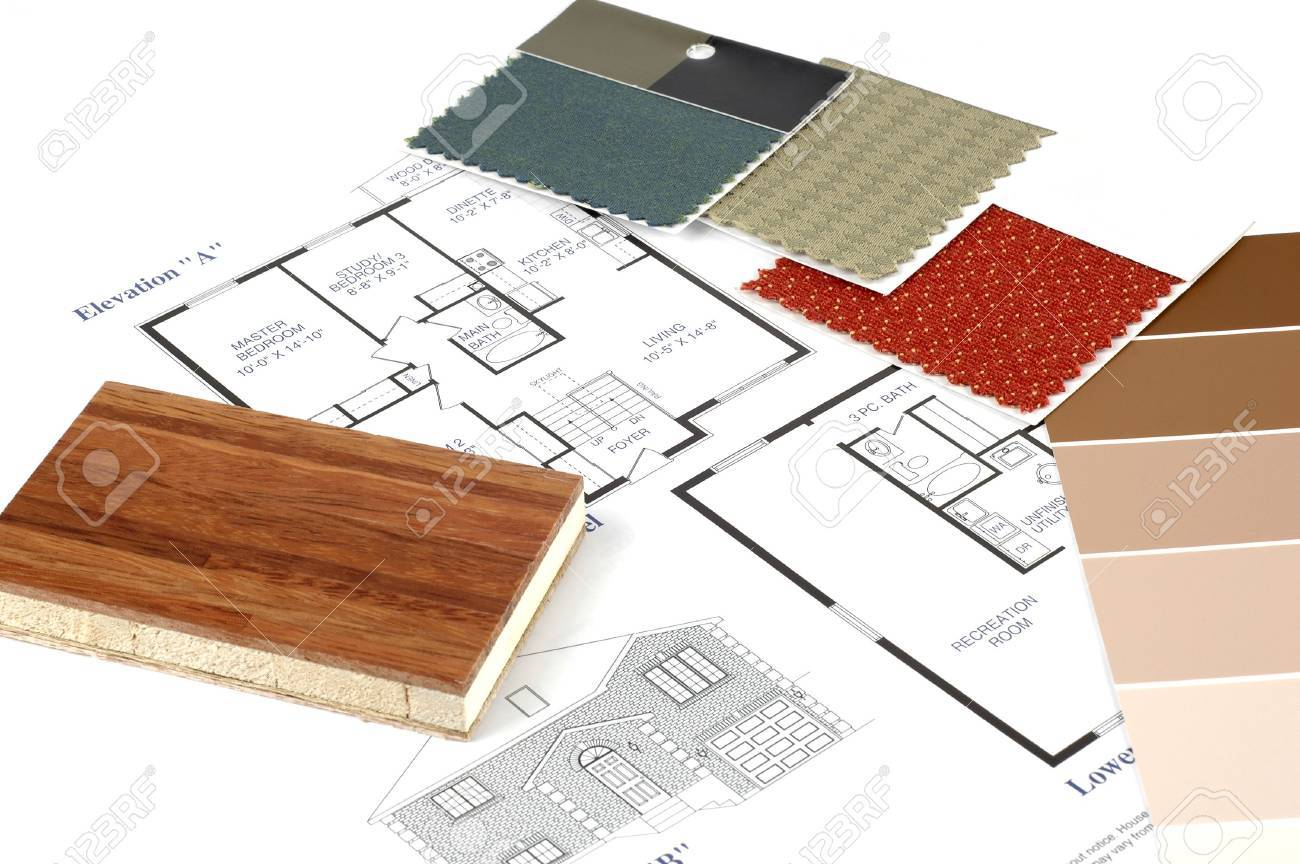 Decorating samoles with a set of house plans. Stock Photo - 2408982