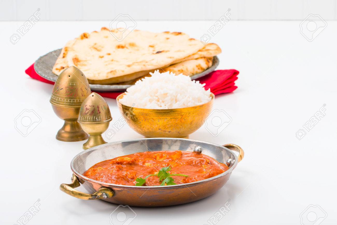 East Indian table setting with butter chicken and rice. Stock Photo - 59927744 & East Indian Table Setting With Butter Chicken And Rice. Stock Photo ...