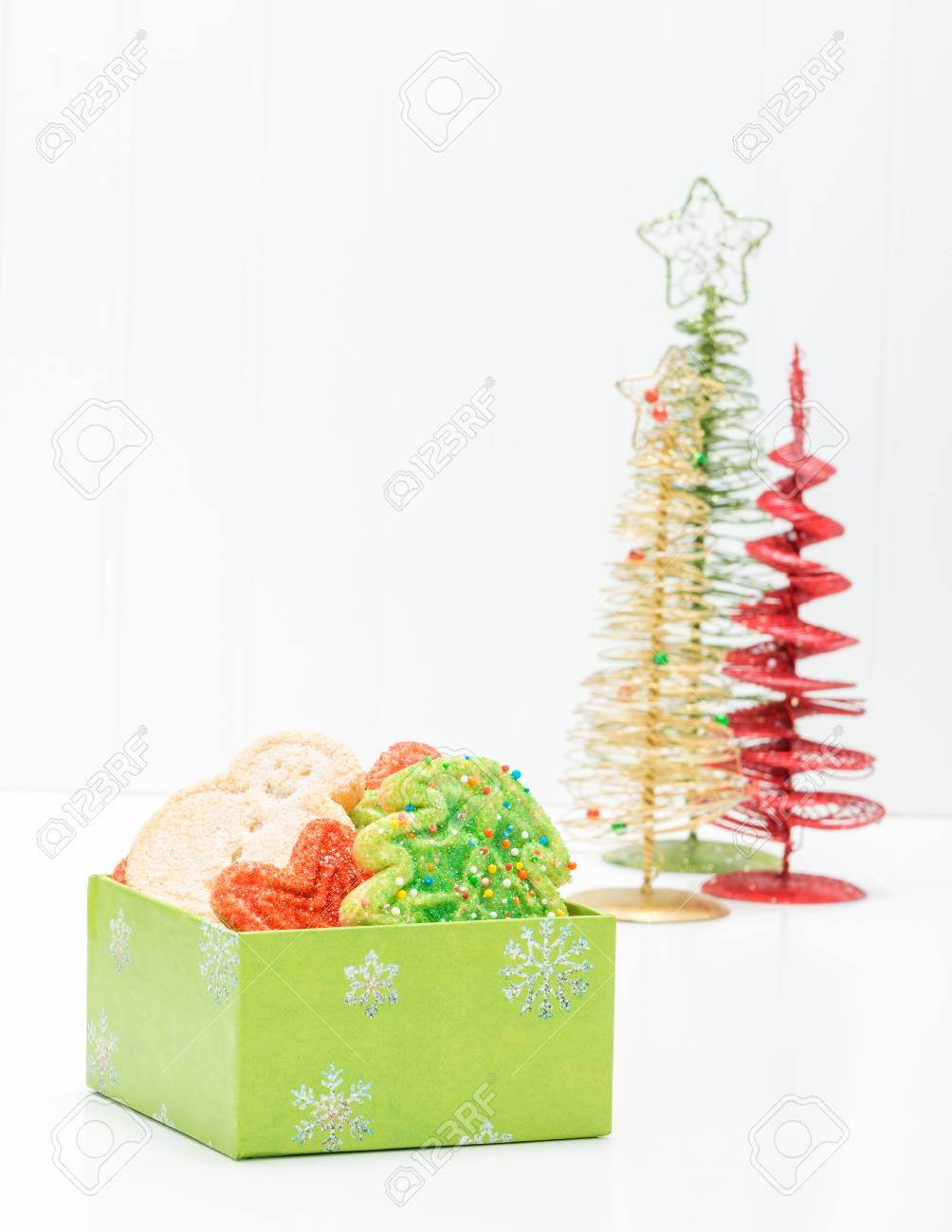 Gift Box Filled With A Variety Of Festive Christmas Sugar Cookies