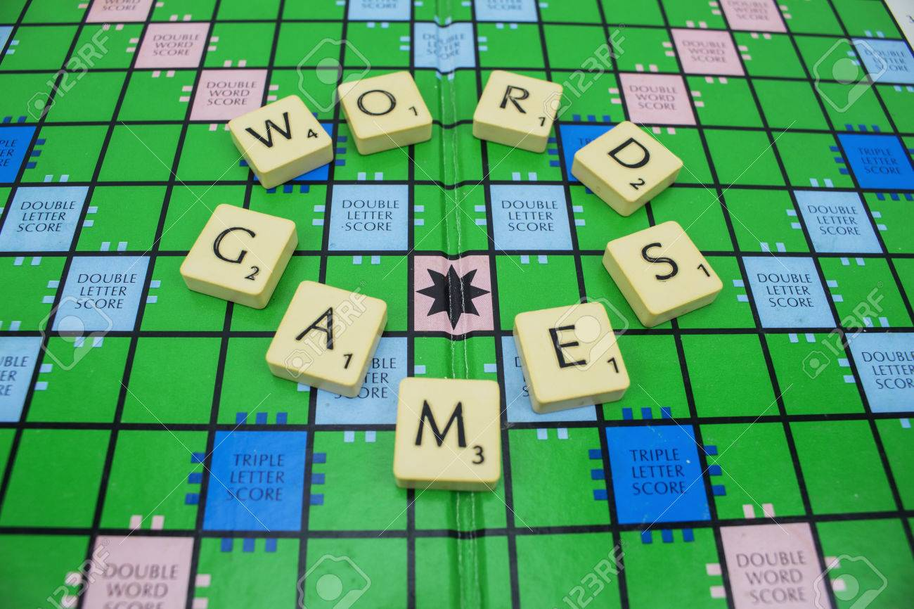the classic scrabble letter spelling out word games on a scrabble