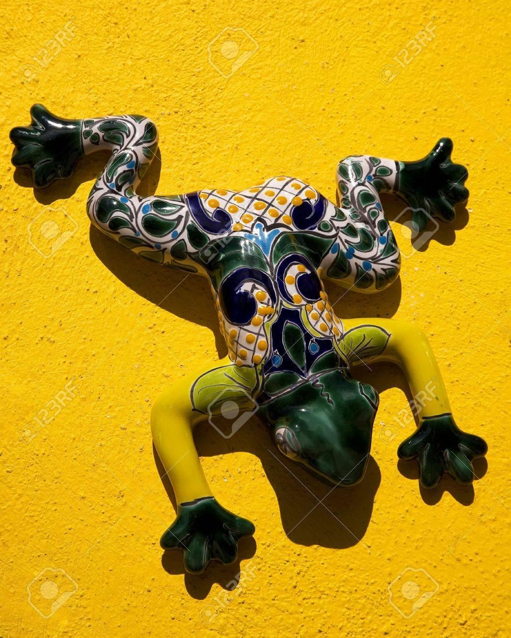 Mexican Ceramic Frog, Yellow Wall, Guanajuato, Mexico. Guanajuato ...