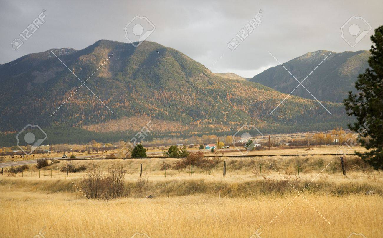 Farm Hills with Yellow Aspens Fall Colors and Yellow Grass Barbed Wire Fence Missoula Montana Stock Photo - 4075914
