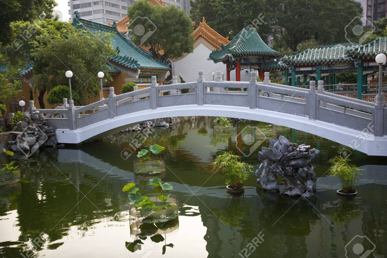 Chinese Good Fortune Water Garden Bridge Reflection Wong Tai.. Stock ...