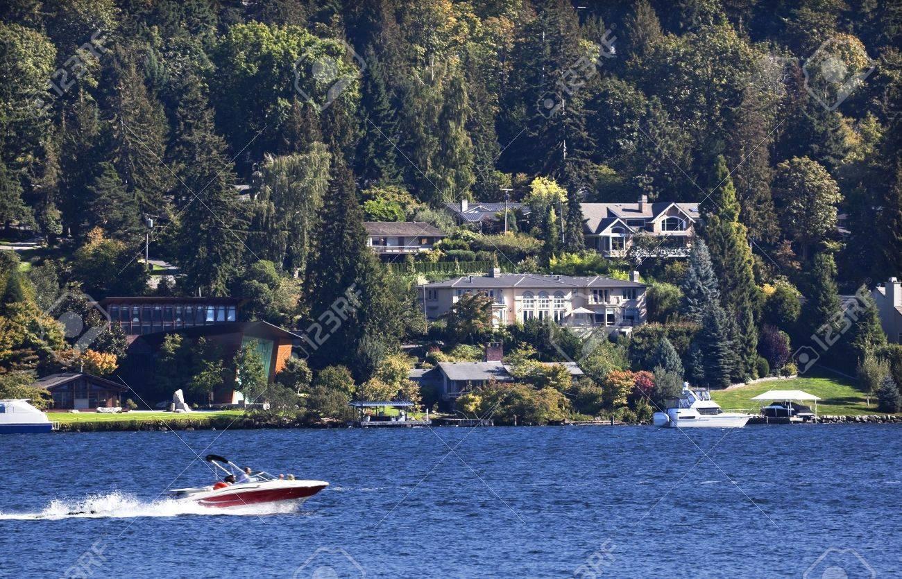 Mercer island luxury waterfront estate idesignarch interior design - Red Speedboat On Lake Washington And Mercer Island From Seward