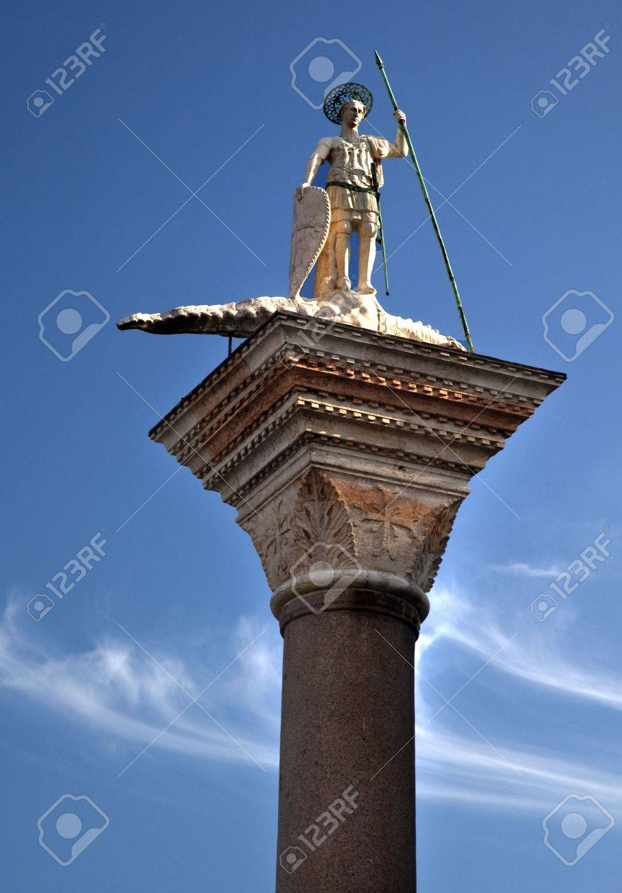 Saint Theodore Killing Crocidile Column 12th Century Originally from Constaintinople Venice Italy Stock Photo - 5973464