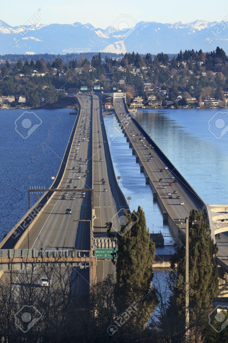 I-90 Bridge Seattle Mercer Island Highway Cars Snowy Cascade