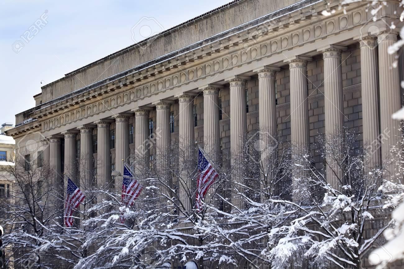Commerce Department After the Snow Flags Pennsylvania Avenue Washington DC Stock Photo - 8888735