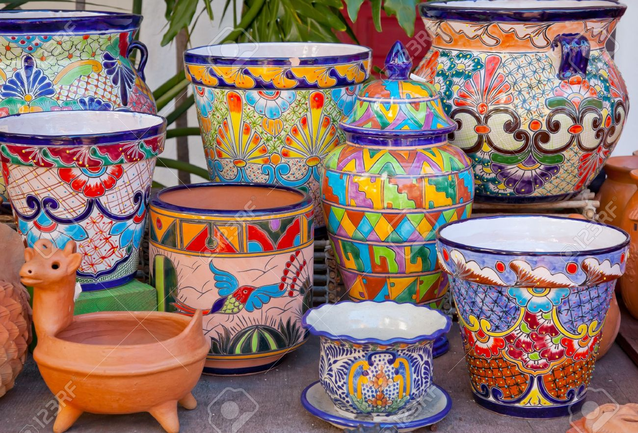 Mexican Pots And Decorations Old San Diego Town California Stock Photo