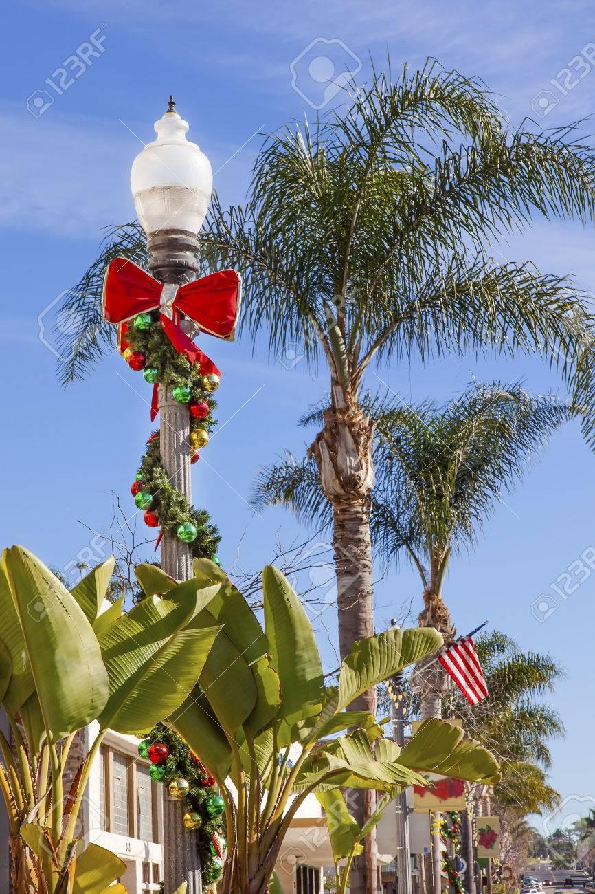 Christmas Lantern Street Light Decorations Banana Trees Palm Holiday Time Ventura California Stock