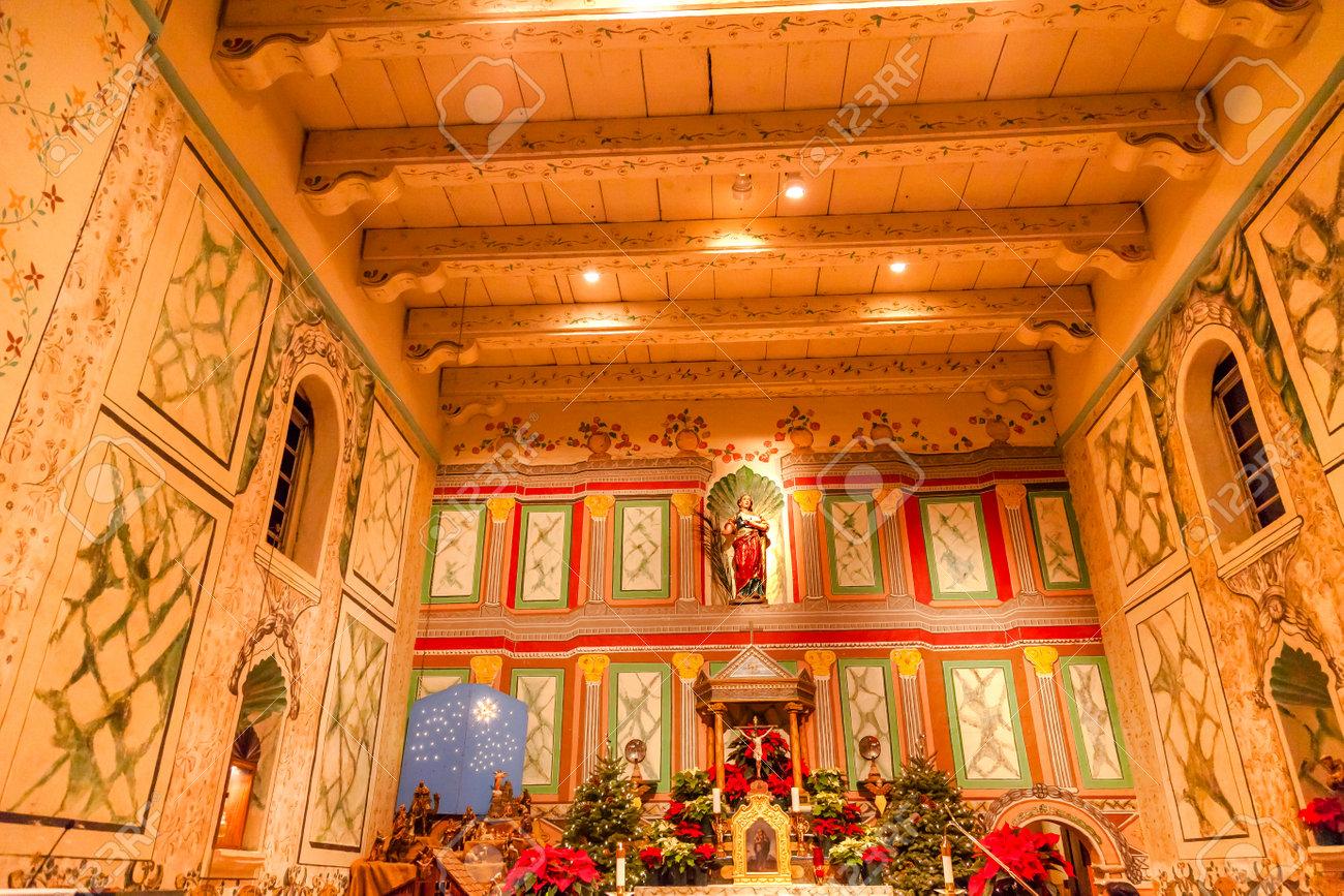 Solvang Ca Christmas.Old Mission Santa Ines Basilica Altar Cross Agnes Statue Solvang