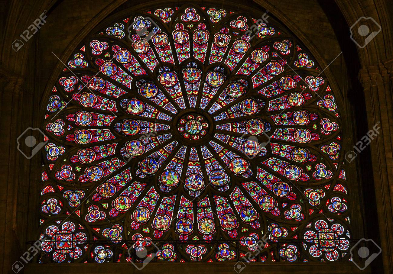 North Rose Window Virgin Mary Jesus Disciples Stained Glass Notre Dame Cathedral Paris France