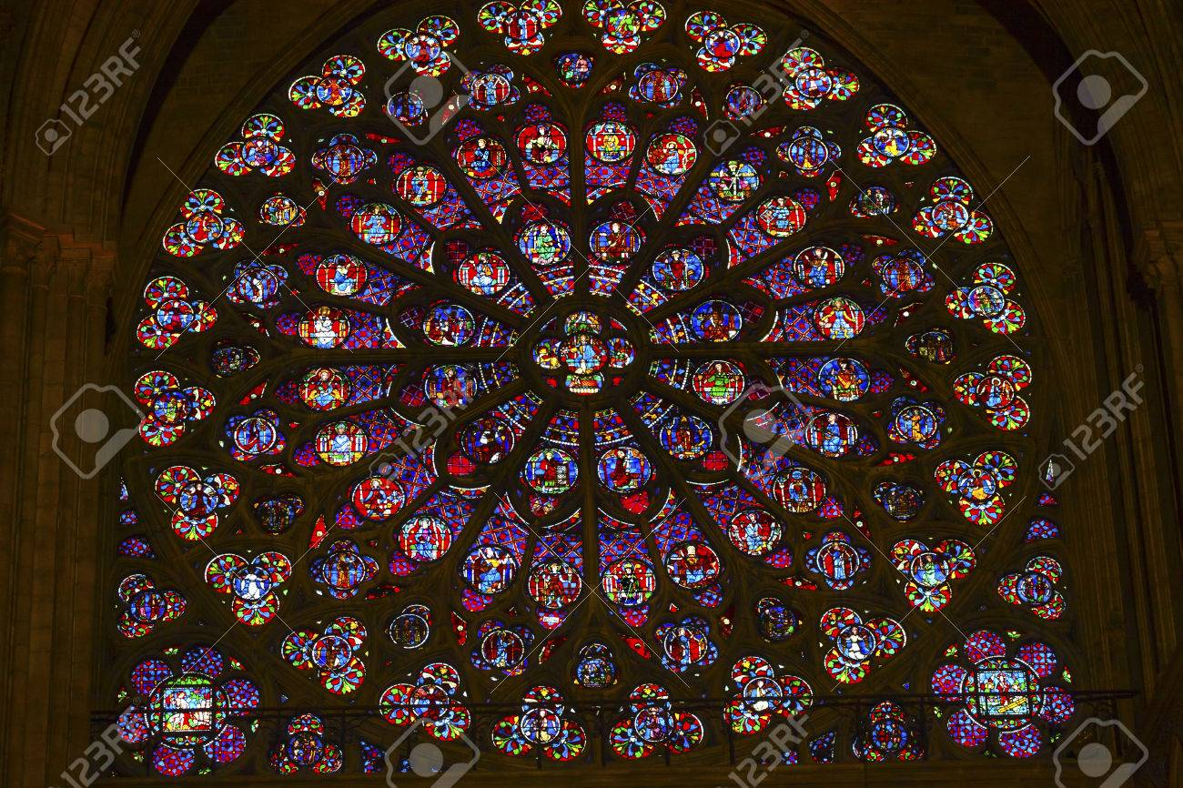 South Rose Window VJesus Disciples Stained Glass Notre Dame Cathedral Paris France Was