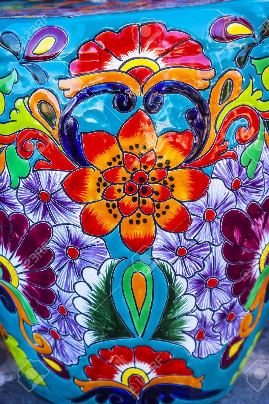Souvenir Colore En Ceramique Fleurs Bleues Orange Pot Decoration