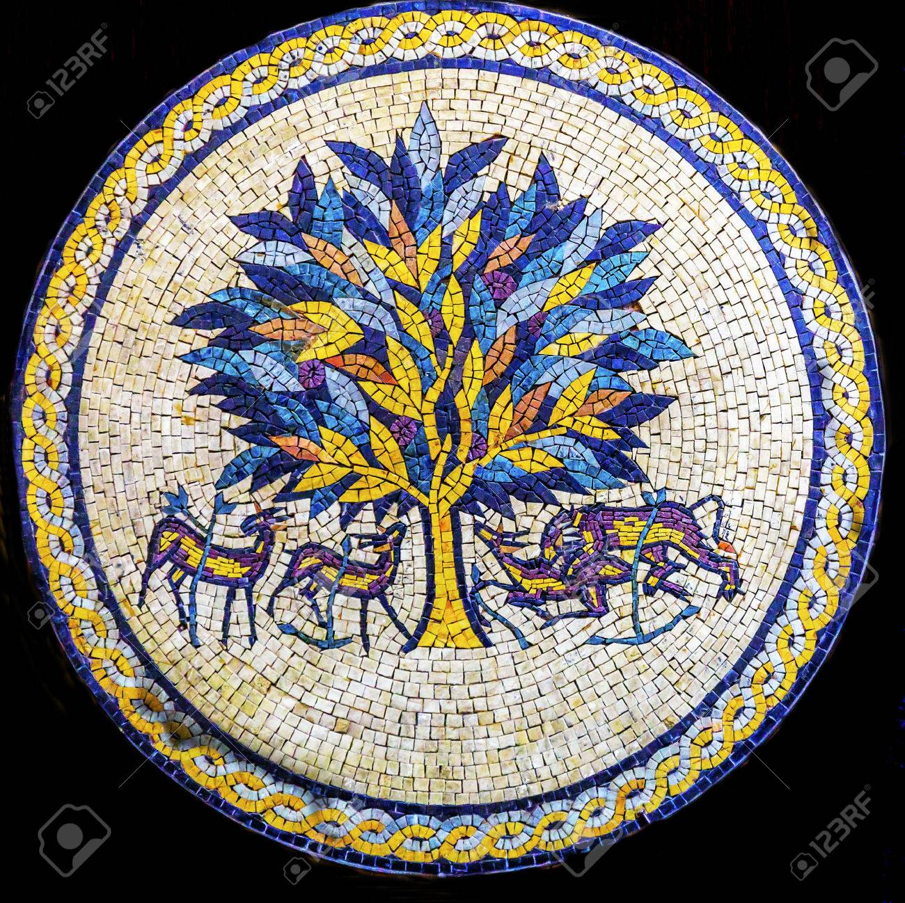 info for more photos to buy Tree of Life Mosaic Madaba Jordan. Tree of Life is famous ancient..