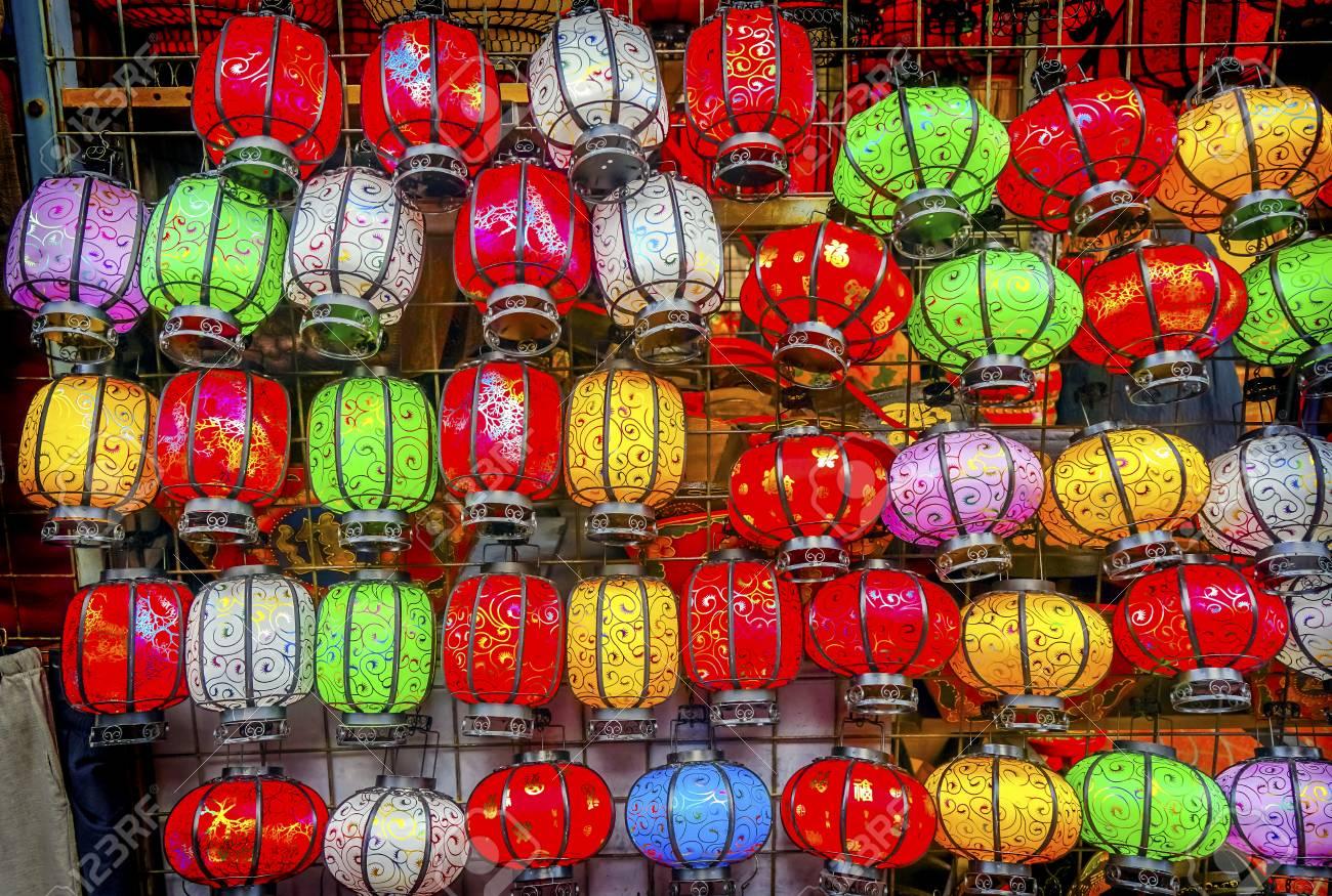 colorful blue red green chinese paper lanterns panjuan flea market