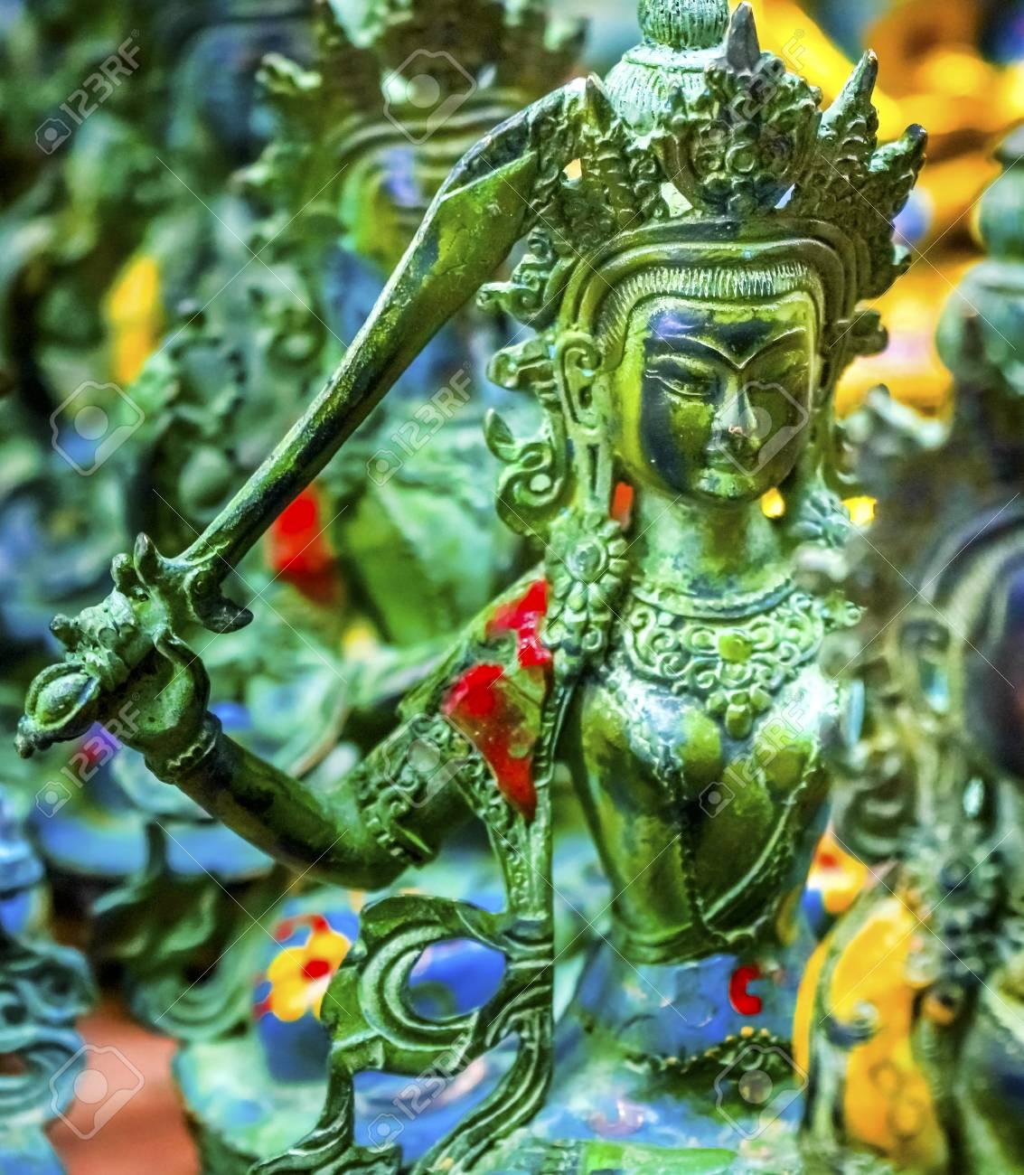 Chinese Replica Bronze Buddha Warrior Decorations Panjuan Flea