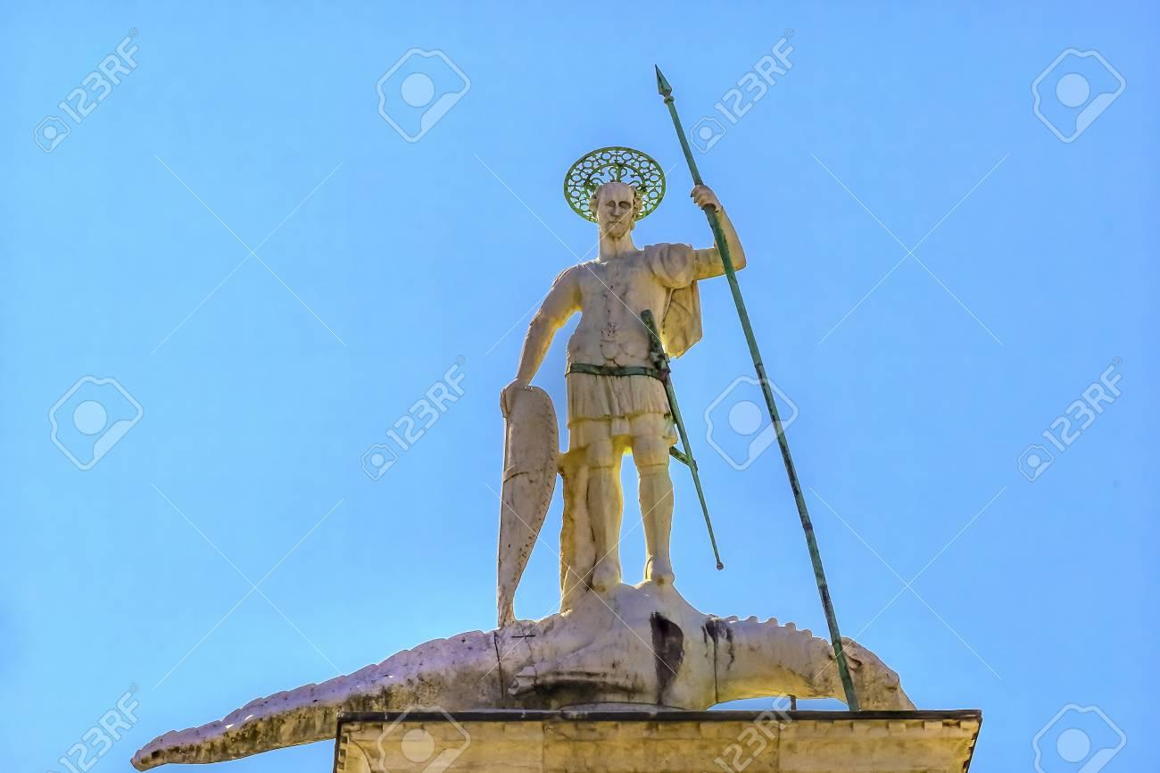 Saint Theodore Killing Alligator Column Piazza San Marco Saint ...