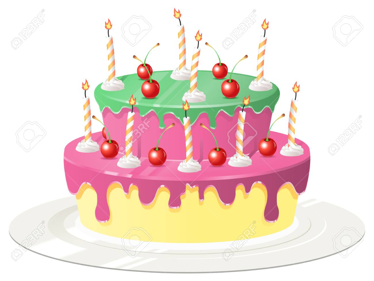 Birthday Cake Images Vektor ~ Isolated birthday cake with candles and cherries royalty free