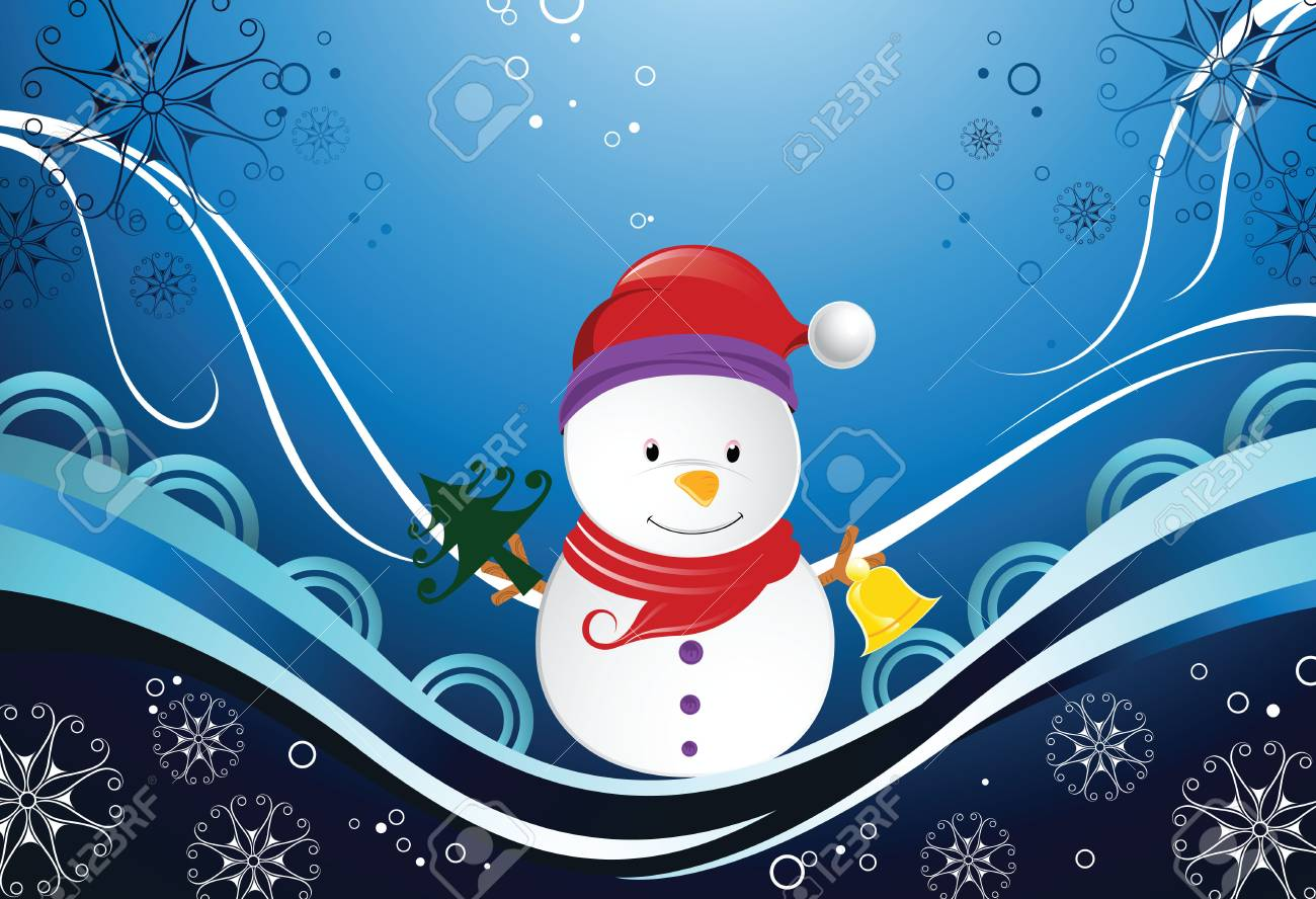 snowman and snowflakes Stock Vector - 3487943