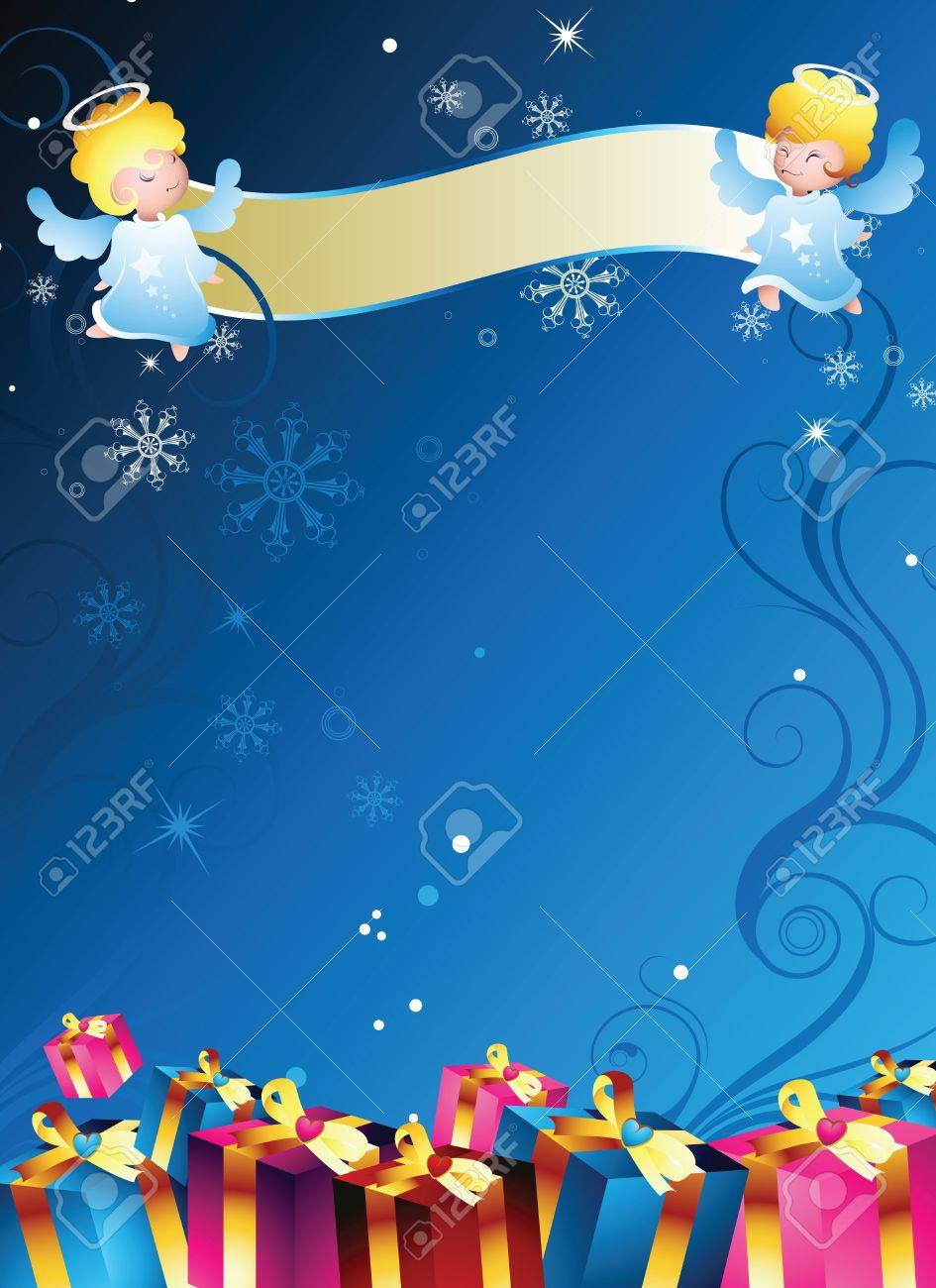 Angel Frame With Gift Box Royalty Free Cliparts, Vectors, And Stock ...
