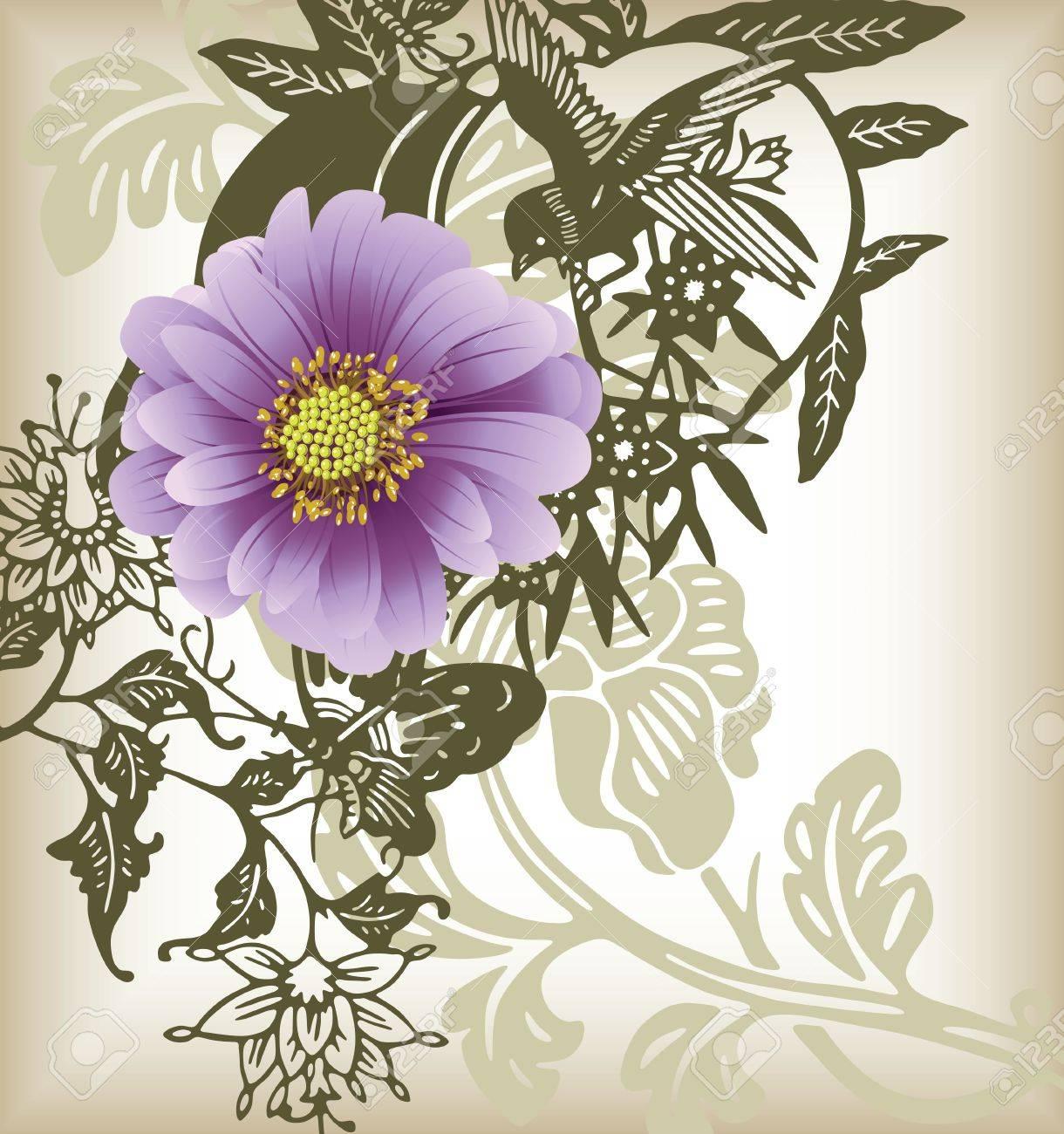 purple dasiy flower and bird Stock Vector - 3868086