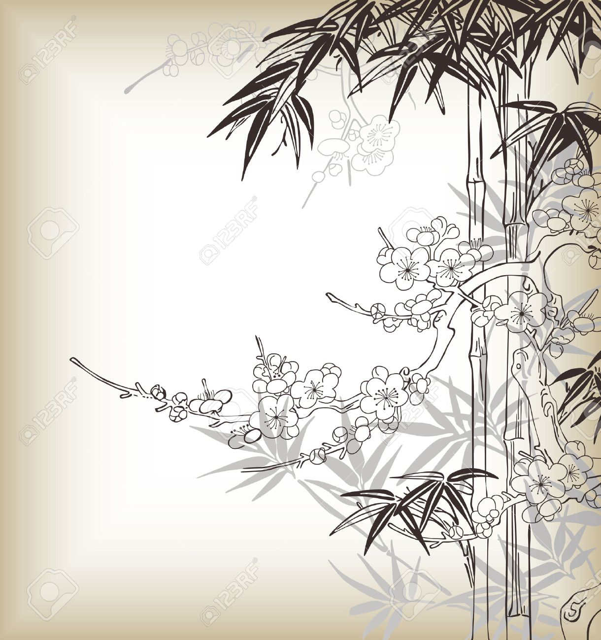 Japanese Style Tree And Bamboo Pattern Royalty Free Cliparts