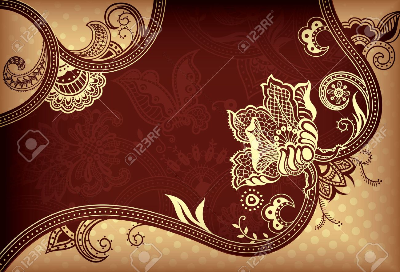 Abstract Gold and Brown Floral Background Stock Vector - 8027804