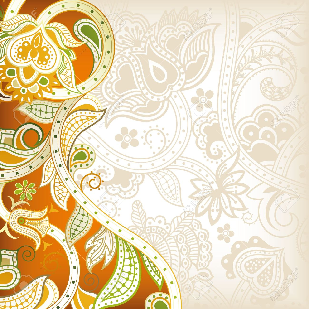 Abstract Orange Floral Background Royalty Free Cliparts, Vectors ...