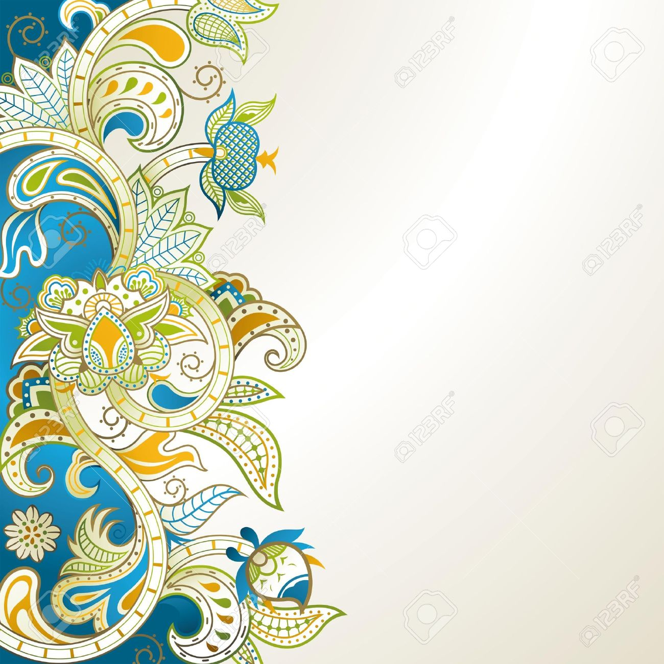 Abstract Blue Floral Stock Vector - 13950418