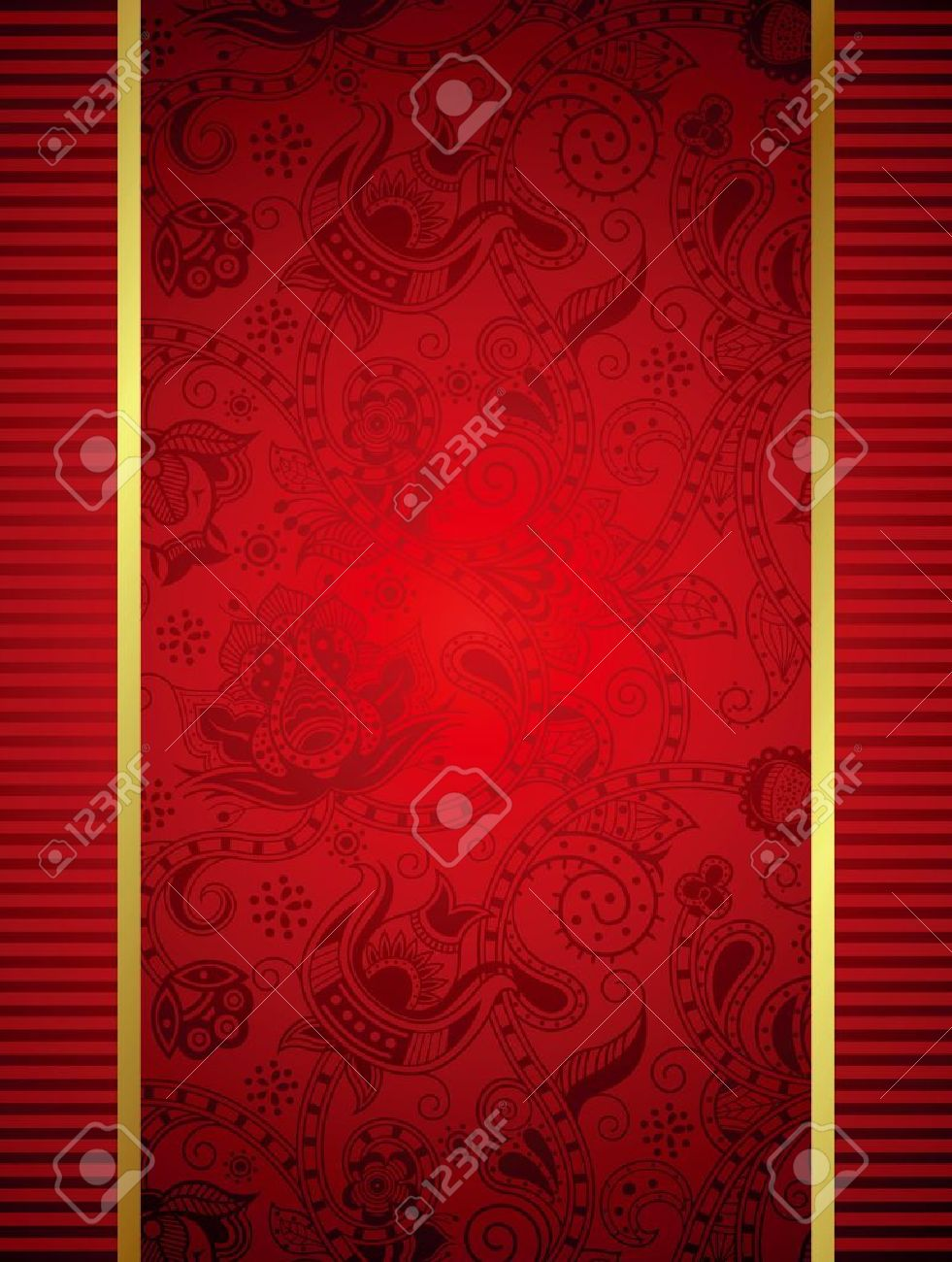 Abstract Red Frame with Floral Background Stock Vector - 14843514