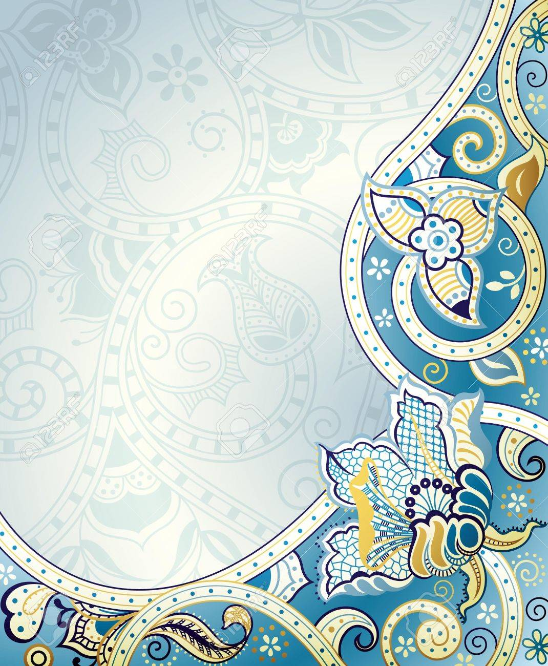 Abstract Blue Floral Background Royalty Free Cliparts Vectors