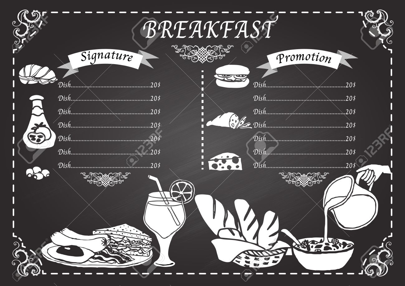 breakfast menu on chalkboard design template royalty free cliparts